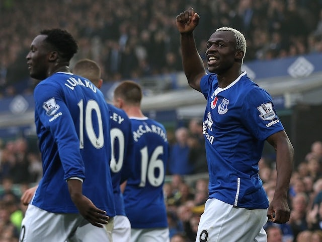 Arouna Kone of Everton celebrates scoring his side's fifth goal during the Barclays Premier League match between Everton and Sunderland at Goodison Park on November 1, 2015 in Liverpool, England.