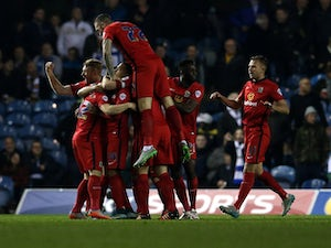 Blackburn Rovers players celebrate after Craig Conway scored during the Sky Bet Championship match between Leeds United and Blackburn Rovers on October 29, 2015