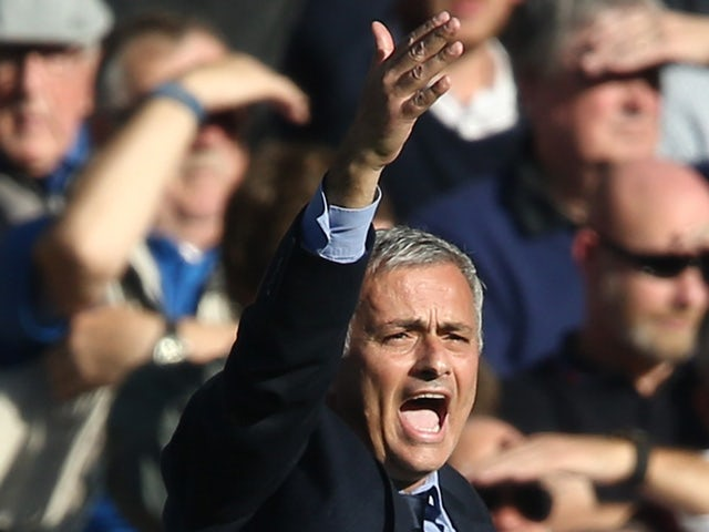 Chelsea's Portuguese manager Jose Mourinho reacts during the English Premier League football match between Chelsea and Liverpool at Stamford Bridge in London on October 31, 2015
