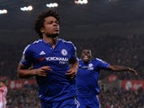 Chelsea's French striker Loic Remy celebrates scoring his team's first goal during the English League Cup fourth round football match between Stoke City and Chelsea at the Britannia Stadium in Stoke-on-Trent, central England on October 27, 2015.