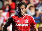 Middlesbrough's Christian Stuani in action during the Sky Bet Championship match between Middlesbrough and Leeds United at the Riverside on September 27, 2015 in Middlesbrough, England.