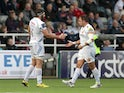 Don Armand (L) of Exeter Chiefs celebrates with team-mate Ben Moon after he scores a try for his side during the Aviva Premiership match between Newcastle Falcons and Exeter Chiefs at Kingston Park on November 1, 2015 in Newcastle upon Tyne, England.