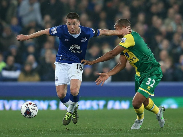 James McCarthy of Everton is challenged by Vadis Odjidja-Ofoe of Norwich City during the Capital One Cup Fourth Round match between Everton and Norwich City at Goodison Park on October 27, 2015 in Liverpool, England.