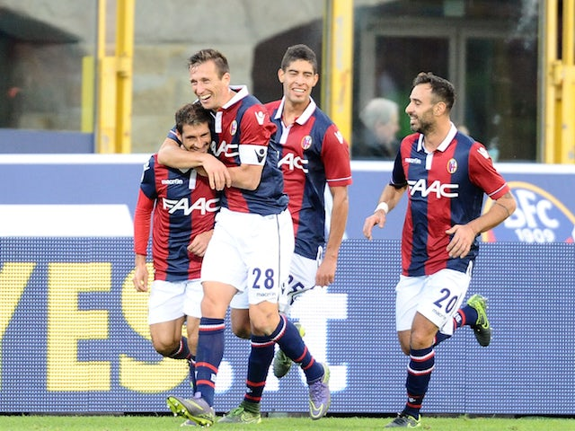 Franco Brienza # 23 of Bologna FC celebrates after scoring his team's third goal during the Serie A match between Bologna FC and Atalanta BC at Stadio Renato Dall'Ara on November 1, 2015 in Bologna, Italy.