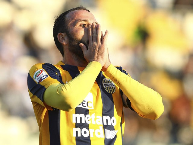 Giampaolo Pazzini of Hellas Verona FC reacts to a missed chance during the Serie A match between Carpi FC and Hellas Verona FC at Alberto Braglia Stadium on November 1, 2015