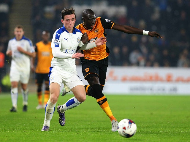 Mo Diame of Hull City (R) challenged by Benjamin Chilwell (L) of Leicester City during the Capital One Cup Fourth Round match between Hull City and Leicester City at KC Stadium on October 27, 2015 in Hull, England.