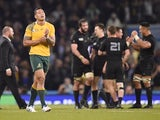 Australia's full-back Israel Folau (2nd L) is pictured after his team lost 17-34 during the final match of the 2015 Rugby World Cup between New Zealand and Australia at Twickenham stadium, south west London, on October 31, 2015.