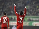 Leverkusen's Mexican forward Javier Hernandez aka Chicharito celebrates scoring during the German first division Bundesliga football match Wolfsburg vs Leverkusen in Wolfsburg on October 31, 2015.