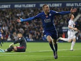 Jamie Vardy of Leicester City celebrates scoring his team's third goal during the Barclays Premier League match between West Bromwich Albion and Leicester City at The Hawthorns on October 31, 2015