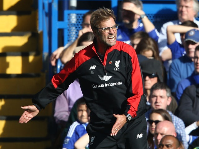 Liverpool's German manager Jurgen Klopp gestures during the English Premier League football match between Chelsea and Liverpool at Stamford Bridge in London on October 31, 2015