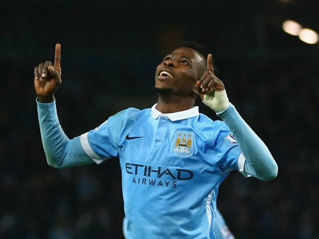 Kelechi Iheancho of Manchester City celebrates scoring his sides third goal during the Capital One Cup fourth round match at the Etihad Stadium on October 28, 2015 in Manchester, England.