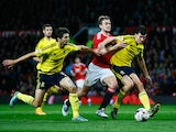 James Wilson of Manchester United takes on George Friend (L) and Daniel Ayala of Middlesbrough during the Capital One Cup Fourth Round match between Manchester United and Middlesbrough at Old Trafford on October 28, 2015 in Manchester, England.