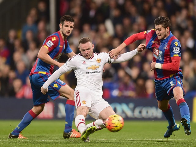 Wayne Rooney of Manchester United shoots at goal during the Barclays Premier League match between Crystal Palace and Manchester United at Selhurst Park on October 31, 2015