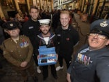 Marcus Bettinelli and Jack Grimmer of Fulham at the London Poppy Day event in Leadenhall Market on October 29, 2015