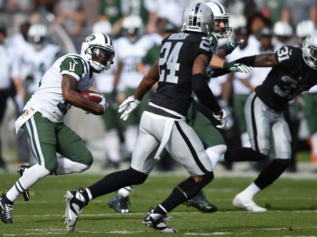 Jeremy Kerley #11 of the New York Jets makes a catch for 23-yards against the Oakland Raiders during their NFL game at O.co Coliseum on November 1, 2015