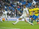 Real Madrid's Portuguese forward Cristiano Ronaldo controls the ball during the Spanish league football match Real Madrid CF vs UD Las Palmas at the Santiago Bernabeu stadium in Madrid on October 31, 2015