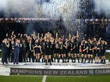 Richie McCaw of New Zealand lifts the trophy during the 2015 Rugby World Cup Final match between New Zealand and Australia at Twickenham Stadium on October 31, 2015 in London, United Kingdom.
