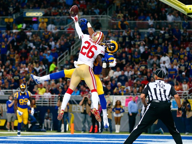 Tramaine Brock #26 of the San Francisco 49ers breaks up a pass intended for Kenny Britt #18 of the St. Louis Rams in the second quarter at the Edward Jones Dome on November 1, 2015