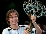 Tomas Berdych of the Czech Republic holds aloft the trophy after his five set victory against Ivan Ljubicic of Croatia in the final of the BNP Paribas ATP Masters Series on November 6, 2005