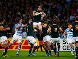 Victor Matfield of South Africa wins the line out ball during the 2015 Rugby World Cup Bronze Final match between South Africa and Argentina at the Olympic Stadium on October 30, 2015