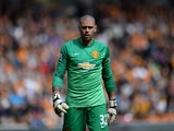 Victor Valdes in action for Manchester United on May 24, 2015