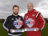 Alan Judge and Lee Carsley of Brentford with their October Player and Manager of the Month awards