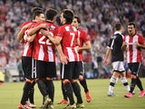 Athletic Bilbao players celebrate after scoring their team's second goal during the UEFA Europa League group L football match Athletic Club Bilbao vs FK Partizan at the San Mames stadium in Bilbao on November 5, 2015.