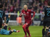 Bayern Munich's Dutch midfielder Arjen Robben celebrates scoring during the UEFA Champions League Group F second-leg football match between FC Bayern Munich and Arsenal FC in Munich, southern Germany, on November 4, 2015