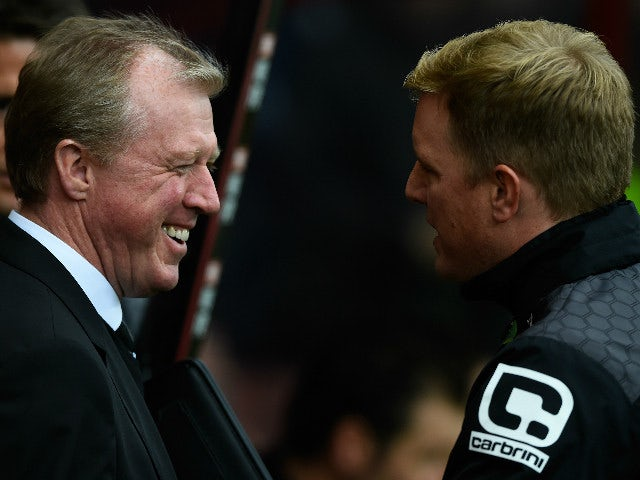 Steve McClaren manager of Newcastle United and Eddie Howe Manager of Bournemouth greet prior to the Barclays Premier League match between A.F.C. Bournemouth and Newcastle United at Vitality Stadium on November 7, 2015 in Bournemouth, England.