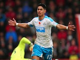 Ayoze Perez of Newcastle United celebrates scoring his team's first goal during the Barclays Premier League match between A.F.C. Bournemouth and Newcastle United at Vitality Stadium on November 7, 2015 in Bournemouth, England.