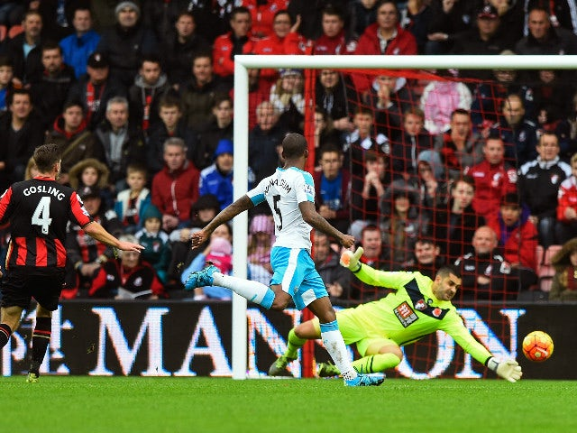 Ayoze Perez (out of shot) of Newcastle United scores his team's first goal during the Barclays Premier League match between A.F.C. Bournemouth and Newcastle United at Vitality Stadium on November 7, 2015 in Bournemouth, England.