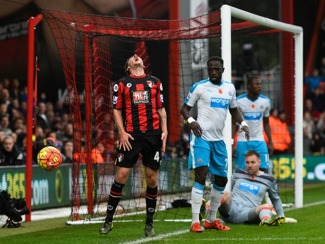 Dan Gosling of Bournemouth reacts during the Barclays Premier League match between A.F.C. Bournemouth and Newcastle United at Vitality Stadium on November 7, 2015 in Bournemouth, England.