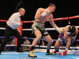 Callum Smith knocks down Rocky Fielding for the third time during their Super Middleweight contest at the Echo Arena on November 7, 2015 in Liverpool, England.