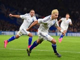 Dynamo Kiev's Austrian defender Aleksandar Dragovic (R) celebrates after scoring during a UEFA Chamions league group stage football match between Chelsea and Dynamo Kiev at Stamford Bridge stadium in west London on November 4, 2015