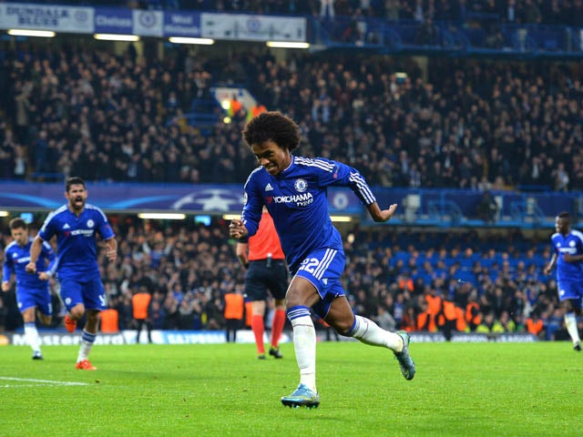 Chelsea's Brazilian midfielder Willian (C) celebrates after scoring from a free kick during a UEFA Chamions league group stage football match between Chelsea and Dynamo Kiev at Stamford Bridge stadium in west London on November 4, 2015