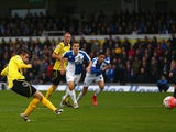 Dave Pearce of Chesham United misses from the penalty spot as goalkeeper Lee Nicholls of Bristol Rovers saves during the Emirates FA Cup first round match between Bristol Rovers and Chesham United at the Memorial Stadium on November 8, 2015 in Bristol, En