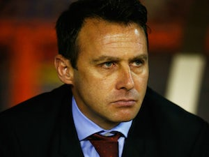 Dougie Freedman manager of Nottingham Forest looks on prior to the Sky Bet Championship match between Nottingham Forest and Derby County at City Ground on November 6, 2015 in Nottingham, England.