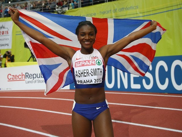 Dina Asher-Smith celebrates after taking silver in the women's 60m at the European Athletics Indoor Championships in March 2015