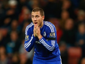 Eden Hazard of Chelsea reacts during the Barclays Premier League match between Stoke City and Chelsea at Britannia Stadium on November 7, 2015 in Stoke on Trent, England.