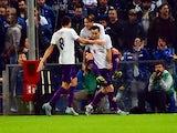 Fiorentina's forward from Croatia Nikola Kalinic (C) celebrates with teammates after scoring during the Italian Seria A football match Sampdoria vs Fiorentina, on November 8, 2015