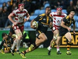 Frank Halai of Wasps breaks with the ball during the Aviva Premiership match between Wasps and Gloucester at The Ricoh Arena on November 8, 2015 in Coventry, England.