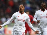 Jordon Ibe of Liverpool FC celebrates after scoring a goal during the UEFA Europa League group B match between FC Rubin Kazan and Liverpool FC at the Kazan Arena Stadium on November 05, 2015 in Moscow, Russia.