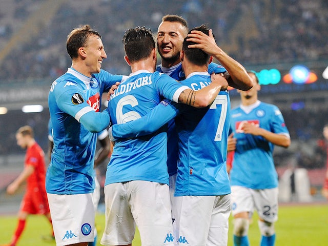 Jos� Maria Callejon of Napoli celebrate by hise team mates after 5-0 scored during the UEFA Europa League Group D match between SSC Napoli and FC Midtjylland at Stadio San Paolo on November 5, 2015 in Naples, Italy.