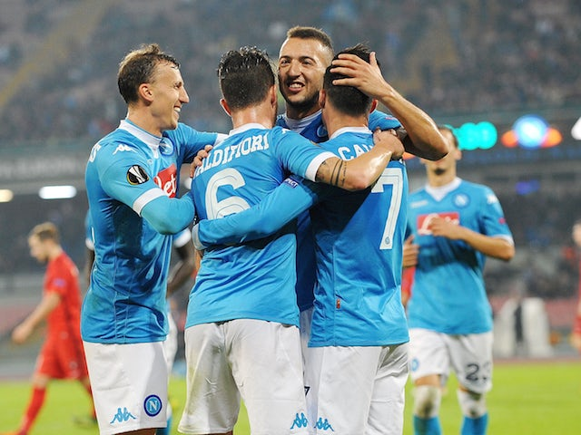 Josè Maria Callejon of Napoli celebrate by hise team mates after 5-0 scored during the UEFA Europa League Group D match between SSC Napoli and FC Midtjylland at Stadio San Paolo on November 5, 2015 in Naples, Italy.