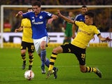 Dortmund's midfielder Julian Weigl and Schalke's midfielder Leon Goretzka vie for the ball during the German first division football Bundesliga match Borussia Dortmund vs FC Schalke 04 on November 8, 2015, 2015 in Dortmund, western Germany.