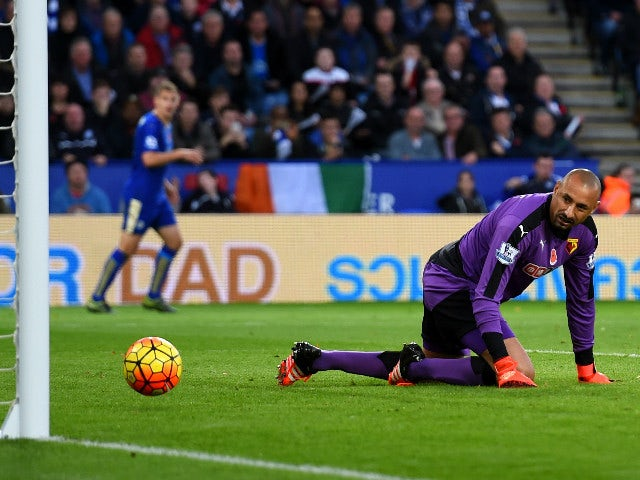 Heurelho Gomes of Watford watches the ball scored by Ngolo Kante of Leicester City during the Barclays Premier League match between Leicester City and Watford at The King Power Stadium on November 7, 2015 in Leicester, England.