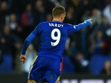 Jamie Vardy of Leicester City celebrates scoring his team's second goal during the Barclays Premier League match between Leicester City and Watford at The King Power Stadium on November 7, 2015 in Leicester, England.