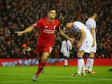 Philippe Coutinho of Liverpool celebrates scoring his side's first goal during the Barclays Premier League match between Liverpool and Crystal Palace at Anfield on November 8, 2015