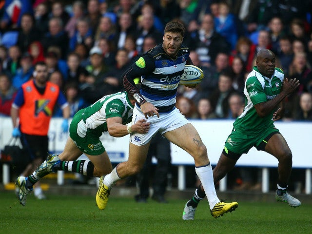 Bath's Matt Banahan looks to break through the London Irish defence during the Aviva Premiership match between London Irish and Bath Rugby at The Madejski Stadium on November 07, 2015 in Reading, England.