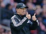 West Bromwich Albion's Welsh Head Coach Tony Pulis gestures from the touchline during the English Premier League football match between Manchester United and West Bromwich Albion at Old Trafford stadium in Manchester, north west England, on November 7, 20
